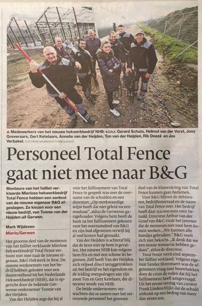 Eindhovens Dagblad: Personeel Total Fence gaat niet mee naar B&G